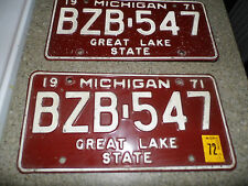 Vintage Pair of 1971 Michigan License Plates - BZB-547