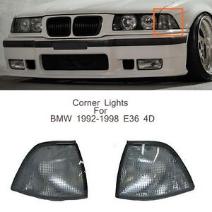 1998-2001  BMW 3 Series E46 Coupe Convertible Smoked Corner Lamps Lights PAIR