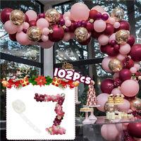 102Pcs Latex Balloon Confetti Arch Kit Garland Party Wedding Baby Birthday Decor