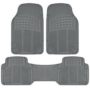 3PC Set All Weather Heavy Duty Protection Trim-to-Fit Rubber Car Floor Mats Gray