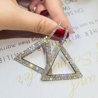 Fashion Geometric Micro drill Earrings Women Crystal triangle Hoop Jewelry Gifts