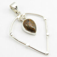 """925 Solid Sterling Silver Natural Yellow & Brown Tiger's Eye Pendant 1.8"""""""