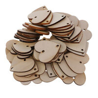100x Heart Unfinished Wooden Shapes with 2 Hole for DIY Gift Tags Craft 35mm