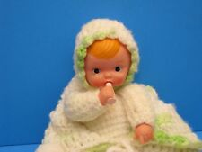 Vintage baby doll with bottle Soft Plastic head hands Hand knitted clothes