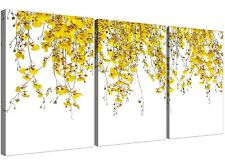 White and Yellow Orchids - Floral Canvas Split Set of 3 - 125cm Wide - 3263