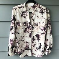 Calvin Klein Sz S Purple & White Watercolor Floral Blouse (C2)
