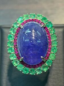 NATURAL TANZANITE 18X13 EMERALD RUBY DIAMOND CUT STERLING SILVER925 RING