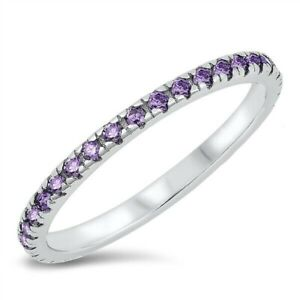 Ring Solid Sterling Silver 925 Amethyst CZ Rhodium Plated Band Width 2 mm Size 7