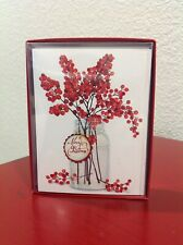 LEANIN TREE CHRISTMAS CARDS RED HOLLY BRANCHES 12 Cards & Envelopes ~NEW~