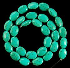 """Flat 13x18mm Blue Turquoise Oval Gemstone Loose Beads 15"""""""