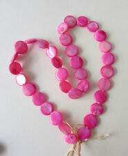 "15 ""Strand hot pink nacre 11 mm gonflé plat Rondes - 36 perles (teints)"