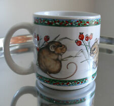 Vintage Dakin 1988 Mug Mice In the Snow Christmas Red Berries Coffee Cup Japan