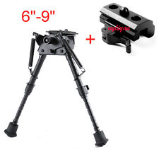 "Rotate 6""-9"" Spring Return Bipod&Sling Swivel+20mm Rail QD Mount For Rifle Hunt"