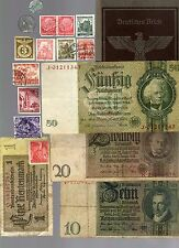 NAZI GERMANY BANKNOTE, COIN, DOCUMENT AND STAMP SET # 65