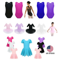 US Kids Girls Ballet Dance Leotard Dress Lyrical Tutu Skirt Gym Jumpsuit Costume