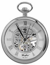Reloj De Bolsillo Woodford centro abierto Esqueleto Mecánico-Plata