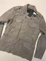 """ALL SAINTS SAND """"PAXSON"""" SUEDE LEATHER MILITARY JACKET COAT - S M L XL NEW TAGS"""