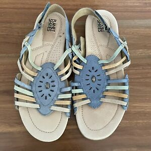 PLANET SHOES Womens Colourful Leather Flat Sandals Comfort  Shoes - Size 10