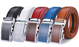 Fashion Mens Leather Ratchet Dress Belts with Automatic Buckle Colorful Up to 43