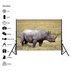 Strong Rhinoceros Photography Background Wall Backdrop Prints Decor AA1