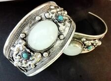Charm White Moonstone Cuff Bracelet Bangle old Tibet Silver Carved Unisex Gift
