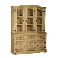 Seconique CORONA Distressed Mexican Pine 4ft6 Buffet Hutch