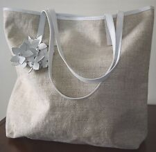 ANTHONY LUCIANO Marche Leather/Canvas Tote Bag Daisy Adorned