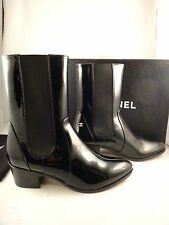 NIB Chanel 14A Black Patent Calfskin Leather CC Western Ankle Boots 38 $1375
