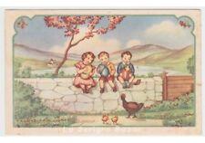 1947 tarjeta postal buenos deseos TEL fp 534 Pascua niños muretto huevos gallina