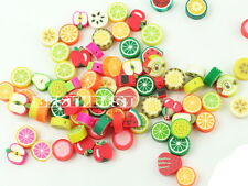 100x Perles FRUITS Fimo Pate polymere Mix env. 10x10mm Lot Perle Fruit Pomme LOT