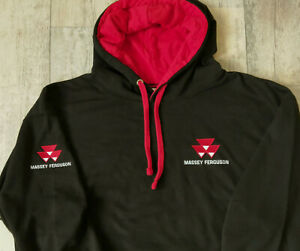 MASSEY FERGUSON Inspired HOODIE, UNISEX, CONTRAST, EMBROIDERED CHEST + ARM