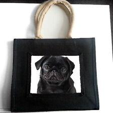BLACK pug cucciolo Iuta Shopping Bag Pet Amante dei Cani Razza Foto Regalo