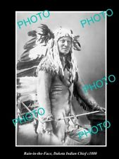 OLD POSTCARD SIZE PHOTO OF DAKOTA INDIAN CHIEF RAIN IN THE FACE c1880