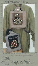 Folk Art Primitive Backpack Purse Tote Sewing Pattern Applique Flowers UNCUT