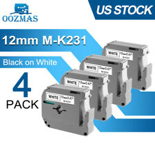 4pk M K231 M231 Fit Brother P Touch M Tape 12mm White Label Maker Pt 55 Pt 85 80