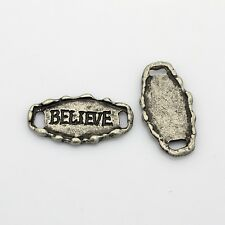 Believe Pendant Word Charm Connector Bracelet Link Antiqued Silver Rustic