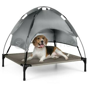 Premium L Elevated Pet Dog Bed Roof Canopy Cot Portable Raised Washable Camping