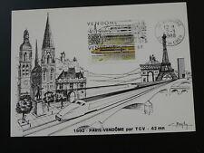 railroads speed train TGV Eiffel Tower maximum card 1988