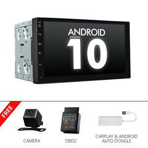 """CAM+CarPlay+OBD+7"""" Car Stereo Double Din Android 10 GPS Navigation Bluetooth USB"""