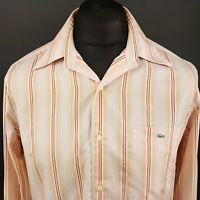 Lacoste Mens Vintage Shirt 40 (MEDIUM) Long Sleeve Pink Regular Fit Striped