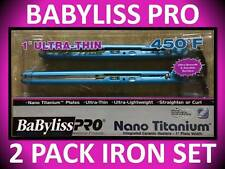 "2 PACK COMBO! BABYLISS PRO 1"" ULTRA THIN NANO TITANIUM 450° FLAT IRON BABNTPP8"