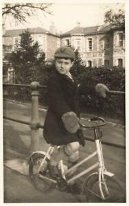 YOUNG BOY ON HIS BICYCLE - FUR GLOVES - SHOPPER BIKE HANDLEBARS VINTAGE PC