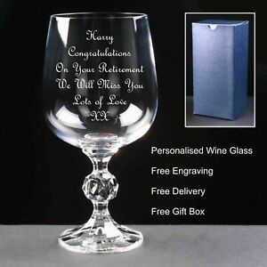 Personalised 12oz Crystal Wine Glass, Retirement, Leaving, Birthday Gift