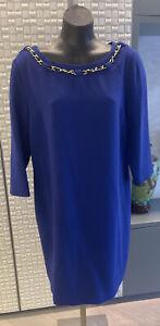 Tahari Arthur S. Levine Designer Dress, Size 16, BNWOT, Electric Blue With Chain
