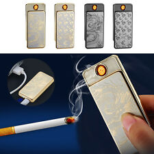 Flameless USB Touchable Metal Windproof Electronic Cigarette Lighter Mans Gifts