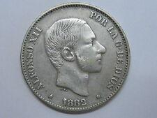 1882 ALFONSO XII MANILA PHILIPPINES 50 CENTAVOS DE PESO SPANISH SPAIN