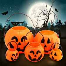 Mini Plastic Halloween Pumpkin Buckets Pouch Holder Party Props Decorations New