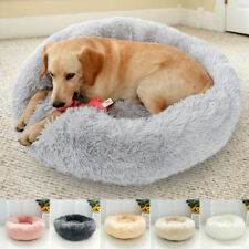 Pet Dog Cat Bed Donut Plush Fluffy Soft Warm Calming Bed Sleeping Kennel Nest