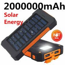2USB 2000000mAh Solar Power Bank  Backup Battery Pack Charger Waterproof