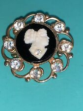 Vintage Cameo Brooch Crystal Rhinestone filigree black white Pin Golden Ornate